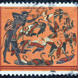 "GREECE - CIRCA 1970: A stamp printed in Greece, from the ''Hercules"" issue shows Hercules and the Stymphalian birds, circa 1970. - Stock Photo"