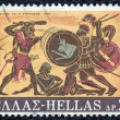 "GREECE - CIRCA 1970: A stamp printed in Greece, from the ''Hercules"" issue shows Hercules and Geryon, circa 1970. - Stock Photo"
