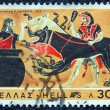 "GREECE - CIRCA 1970: A stamp printed in Greece , from the ''Hercules"" issue shows Hercules and Cerberus, circa 1970. - Stock Photo"