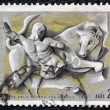 "GREECE - CIRCA 1970: A stamp printed in Greece, from the ''Hercules"" issue shows Hercules and the Cretan bull, circa 1970. - Stock Photo"