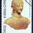 "CYPRUS - CIRCA 1980: A stamp printed in Cyprus from the ""Archeological findings"" issue showing a terracotta warrior (6th-5th century B.C.), circa 1980. - Stock Photo"