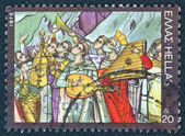 """GREECE - CIRCA 1975: A stamp printed in Greece from the '""""traditional musical instruments"""" issue shows a traditional band of ecclesiastic musicians praising God, circa 1975. — Stock Photo"""