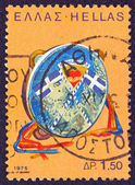 """GREECE - CIRCA 1975: A stamp printed in Greece from the '""""traditional musical instruments"""" issue shows a tabor (nteffi), circa 1975. — Stock Photo"""