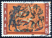 "GREECE - CIRCA 1970: A stamp printed in Greece, from the ''Hercules"" issue shows Hercules and the Stymphalian birds, circa 1970. — Stock Photo"