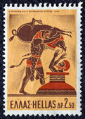 "GREECE - CIRCA 1970: A stamp printed in Greece, from the ''Hercules"" issue shows Hercules capturing the Erymanthian Boar, circa 1970. — Stock Photo"