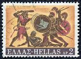"GREECE - CIRCA 1970: A stamp printed in Greece, from the ''Hercules"" issue shows Hercules and Geryon, circa 1970. — Stock Photo"