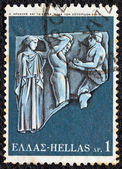 "GREECE - CIRCA 1970: A stamp printed in Greece, from the ''Hercules"" issue shows Hercules and the golden apples of Hesperides, circa 1970. — Stock Photo"