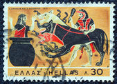 "GREECE - CIRCA 1970: A stamp printed in Greece , from the ''Hercules"" issue shows Hercules and Cerberus, circa 1970. — Stock Photo"