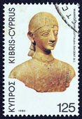 """CYPRUS - CIRCA 1980: A stamp printed in Cyprus from the """"Archeological findings"""" issue showing a terracotta warrior (6th-5th century B.C.), circa 1980. — Stock Photo"""