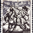 "GREECE - CIRCA 1982: A stamp printed in Greece from the ""National Resistance, 1941-44"" issue shows Resistance in Thrace (A. Tassos), circa 1982. - Stock Photo"