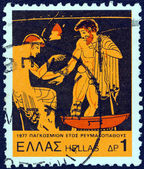 "GREECE - CIRCA 1977: A stamp printed in Greece from the ""1977, International Rheumatism Year"" issue shows Ancient clinic, circa 1977. — Stock Photo"