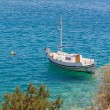 Fishing boat anchored at a Greek island — Stock Photo