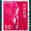 JAPAN - CIRCA 1967: A stamp printed in Japan shows Miroku Bosatsu wood statue in Chugu-ji, Nara perfecture, circa 1967. — Stock Photo #11523630