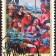 "SPAIN - CIRCA 1979: A stamp printed in Spain from the ""Religious Paintings"" issue shows ""St. Stephen in the Synagogue"" painting by J. de Juanes, circa 1979. — Stock Photo"