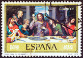 "SPAIN - CIRCA 1979: A stamp printed in Spain from the ""Religious Paintings"" issue shows ""The Last Supper"" painting by J. de Juanes, circa 1979. — Stock Photo"