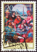 "SPAIN - CIRCA 1979: A stamp printed in Spain from the ""Religious Paintings"" issue shows ""St. Stephen in the Synagogue"" painting by J. de Juanes, circa 1979. — Foto de Stock"