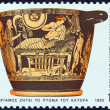 "GREECE - CIRCA 1983: A stamp printed in Greece from the ""Homeric epics"" issue shows Priam requesting the body of Hector (pot), circa 1983. — Stock Photo"