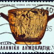 "Stock Photo: GREECE - CIRC1983: stamp printed in Greece from ""Homeric epics"" issue shows abduction of Helen by Paris (pot), circ1983."