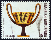 """GREECE - CIRCA 1983: A stamp printed in Greece from the """"Homeric epics"""" issue shows Heroes of Iliad (cup), circa 1983. — Stock Photo"""