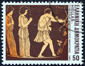 "GREECE - CIRCA 1983: A stamp printed in Greece from the ""Homeric epics"" issue shows Odysseus slaying suitors, circa 1983. — Stock Photo"