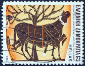 """GREECE - CIRCA 1983: A stamp printed in Greece from the """"Homeric epics"""" issue shows Odysseus escaping from Polyphemus's cave, circa 1983. — Stock Photo"""