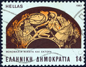 "GREECE - CIRCA 1983: A stamp printed in Greece from the ""Homeric epics"" issue shows a battle between Ajax and Hector (dish), circa 1983. — Stock Photo"