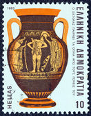 """GREECE - CIRCA 1983: A stamp printed in Greece from the """"Homeric epics"""" issue shows Hector receiving arms from his parents (vase), circa 1983. — Stock Photo"""