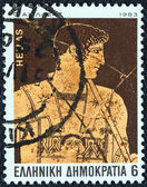 """GREECE - CIRCA 1983: A stamp printed in Greece from the """"Homeric epics"""" issue shows Achilles, circa 1983. — Stock Photo"""