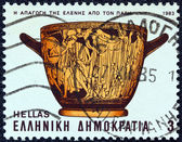 "GREECE - CIRCA 1983: A stamp printed in Greece from the ""Homeric epics"" issue shows the abduction of Helen by Paris (pot), circa 1983. — Stock Photo"