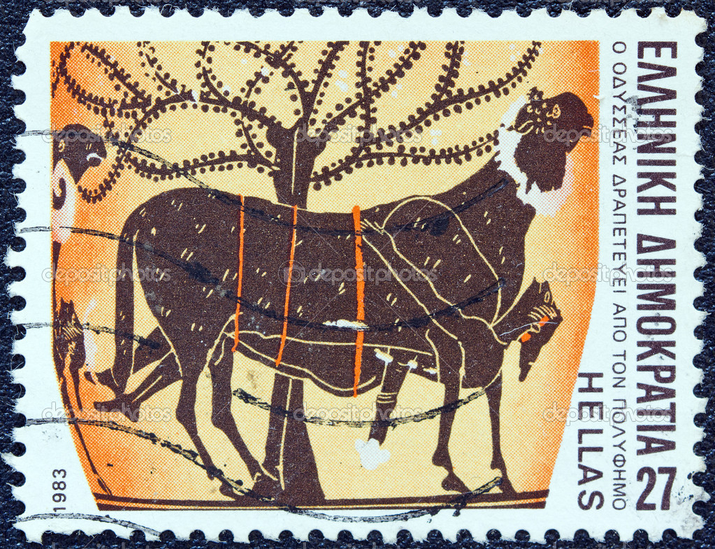 "GREECE - CIRCA 1983: A stamp printed in Greece from the ""Homeric epics"" issue shows Odysseus escaping from Polyphemus's cave, circa 1983. — Stock Photo #11561605"