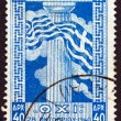 GREECE - CIRCA 1945: A stamp printed in Greece after the end of WWII, issued for the 5th anniversary of the 28th of October 1940 refusal to surrender to the fascist Italy, circa 1945. - Stock Photo