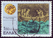 "GREECE - CIRCA 1977: A stamp printed in Greece from the ''Alexander the Great"" issue shows the ""legend of bathyscaphe"", circa 1977. — Stock Photo"
