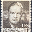 "Stock Photo: US- CIRC1972: stamp printed in USfrom ""Prominent Americans"" issue shows portrait of New York mayor Fiorello LGuardia, circ1972."