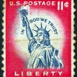"USA - CIRCA 1954: A stamp printed in USA from the ""Liberty"" issue shows the Statue of Liberty, circa 1954. — Stock Photo"