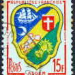"Stock Photo: FRANCE - CIRC1958: stamp printed in France from ""Arms of French Towns 3rd Series"" issue shows coats of arms of Algiers, circ1958."