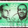 "TRINIDAD AND TOBAGO - CIRCA 1985: A stamp printed in Trinidad and Tobago from the ""Labour day"" issue shows labour leaders Adrian Cola Rienzi and C.T.W.E. Worrell, circa 1985. — Stock Photo"