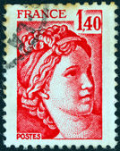 """FRANCE - CIRCA 1977: A stamp printed in France shows Sabine from the """"the kidnapping of the Sabines"""" painting by Jacques-Louis David, circa 1977. — Stock Photo"""