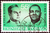 "TRINIDAD AND TOBAGO - CIRCA 1985: A stamp printed in Trinidad and Tobago from the ""Labour day"" issue shows labour leaders Adrian Cola Rienzi and C.T.W.E. Worrell, circa 1985. — 图库照片"