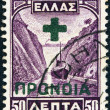 Постер, плакат: GREECE CIRCA 1927: A stamp printed in Greece from the Landscapes issue shows Corinth canal circa 1927