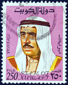 KUWAIT - CIRCA 1974: A stamp printed in Kuwait shows a portrait of Sheikh Sabah emir of Kuwait, circa 1974. — Stock Photo