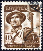 EGYPT - CIRCA 1953: A stamp printed in Egypt shows a soldier, circa 1953. — Stock Photo