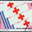 ITALY - CIRCA 1980: A stamp printed in Italy issued for the 1st International Exhibition of Red Cross shows Red Cross Flags, circa 1980. — Stock Photo