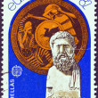 "GREECE - CIRCA 1982: A stamp printed in Greece from the ""Europa"" issue shows a bust of Miltiades and shield (Battle of Marathon), circa 1982. — Stock Photo"