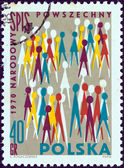 POLAND - CIRCA 1970: A stamp printed in Poland shows National census population pictograph, circa 1970. — Stock Photo