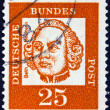 "GERMANY - CIRCA 1961: A stamp printed in Germany from the ""Famous Germans"" issue shows military artillery engineer and architect Johann Balthasar Neumann, circa 1961. — Stock Photo"
