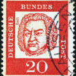 "GERMANY - CIRCA 1961: A stamp printed in Germany from the ""Famous Germans"" issue shows Johann Sebastian Bach, circa 1961. — Stock Photo"