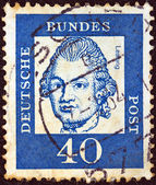 "GERMANY - CIRCA 1961: A stamp printed in Germany from the ""Famous Germans"" issue shows philosopher Gotthold Ephraim Lessing, circa 1961. — Stock Photo"