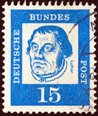 "GERMANY - CIRCA 1961: A stamp printed in Germany from the ""Famous Germans"" issue shows monk Martin Luther, circa 1961. — Stock Photo"