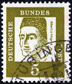 "GERMANY - CIRCA 1961: A stamp printed in Germany from the ""Famous Germans"" issue shows Catholic saint Albertus Magnus, circa 1961. — Stock Photo"