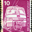 "Stock Photo: GERMANY - CIRC1975: stamp printed in Germany from ""Industry and Technology"" issue shows Electric train, circ1975."